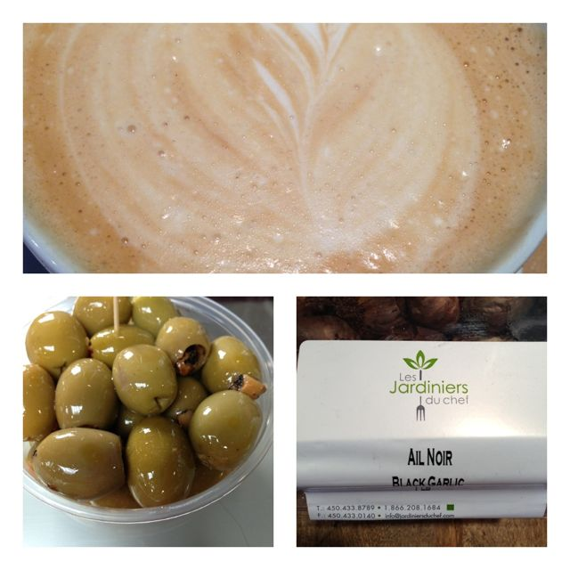 four photos - coffee:olives