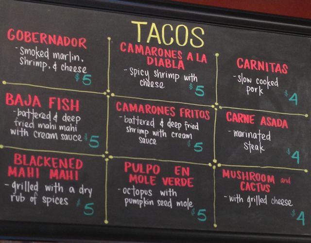 tacos - menu