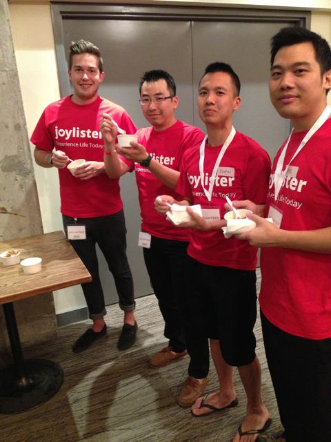 Some volunteers enjoying some poutine too!!