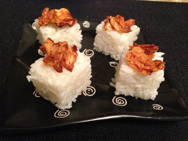 Rice Cubes topped with Dried Kimchi that I bought at Trader Joe's.