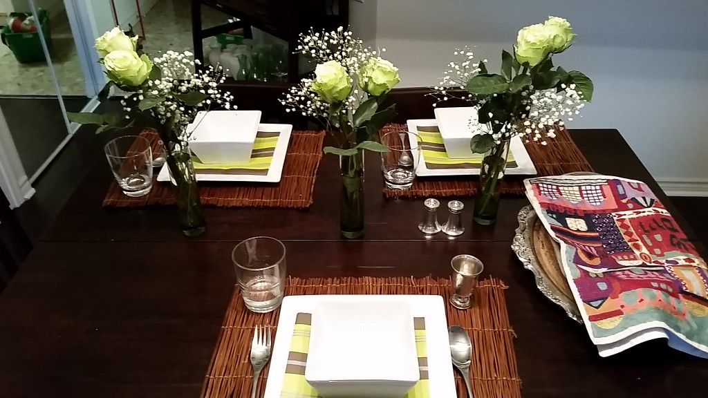 table setting - brown:green