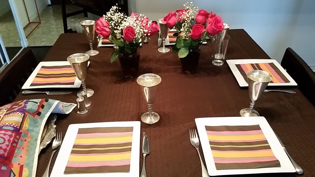 table setting - orange:brown